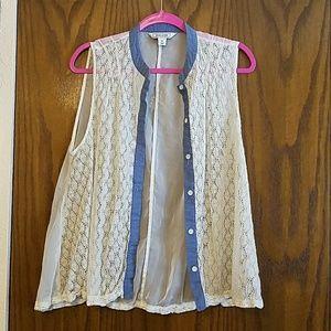 Button up lace front shirt